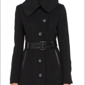 Mackage Belted Leather Trim Wool Coat - Small